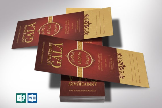 Church Anniversary Gala Ticket Word Publisher Template 5 Backgrounds Size 3 X7