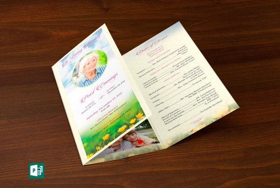 Memories Tri-Fold Funeral Program Publisher Template   Etsy
