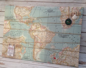 Fabric Pin Board, 40x60 cm, Fabric Memo Board, Notice Board, Atlas, Map of the world, Wanderlust