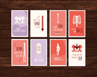 Funny Medical/Bones Valentine's Day Card Download - 8 Printable Cards -  Great for physiotherapists, doctors, med students, nurses
