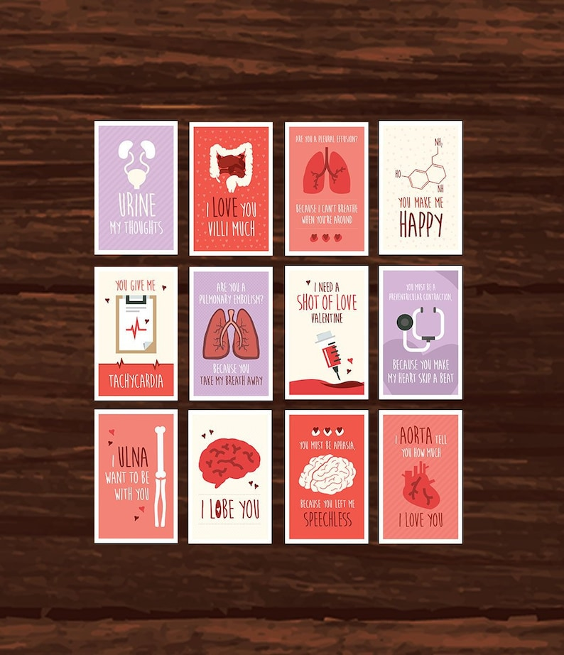 Funny Medical Valentine's Day Card Download  12 Printable image 0