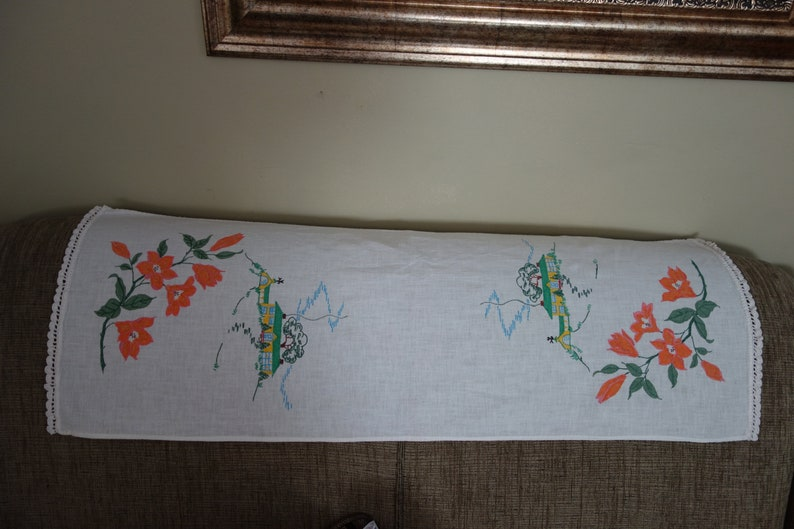 1960s Handpainted Runner Floral Design and House Crochet Edge 33 x 12 Free Ship Table Topper Project Lace Edge
