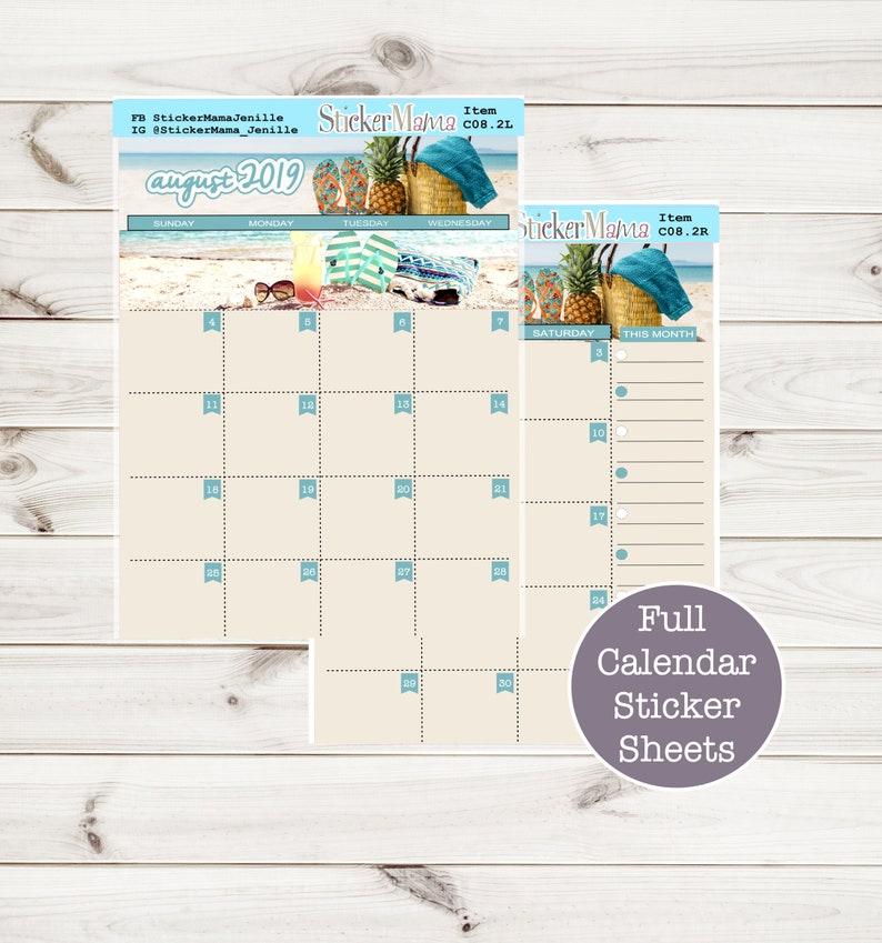 DOWNLOADABLE PRINTABLES STICKERS Printable eclp August Calendar Kit C08 2LR  Digital Kit August Monthly Monthly Downloadable Erin Condren