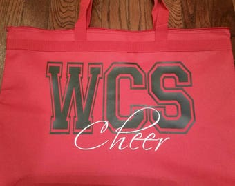 0fe46e2a3e Cheerleader or Cheer Mom Tote Bag - Zip Closure - Variety of Colors -  School Name on Front in Matte or Glitter - Monogrammed Cheer Tote
