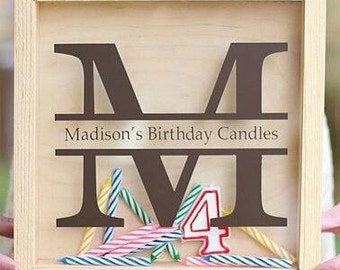 Candle Storage Birthday Monogram For Shadow Box