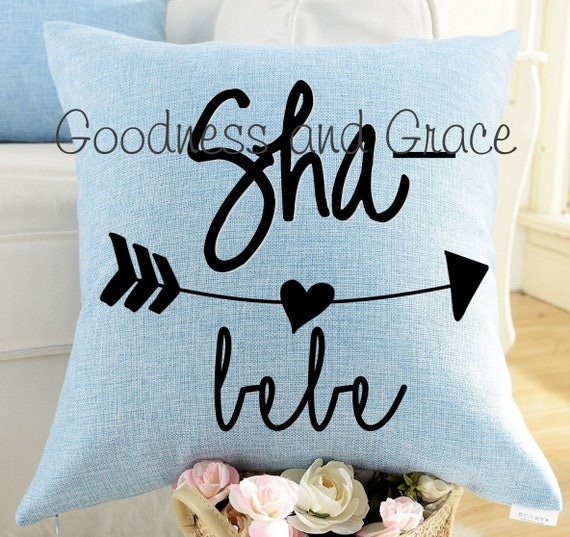 7760976c9a5 Sha Bebe Pillow - Linen Pillow Cover or Pillow with Insert - Baby Shower  Gift - Cajun Baby Gift - Louisiana Baby - Baby Shower Pillow Gift
