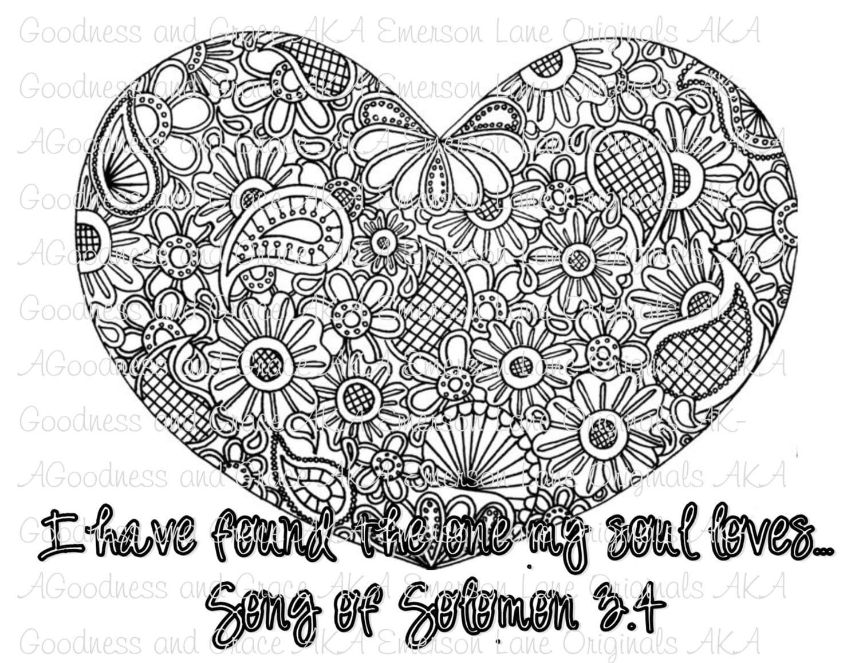 Hohelied 3:4 Mandala Bibelvers Färbung Bild Druck auf | Etsy