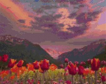 Interlaken Switzerland Sunset landscape Cross Stitch pattern PDF - Instant Download!