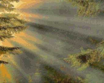 Sacred Forest Sunrays Cross Stitch pattern PDF - Instant Download!