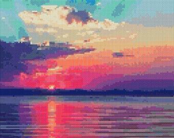 Ocean Sunset Cross Stitch pattern PDF - Instant Download!