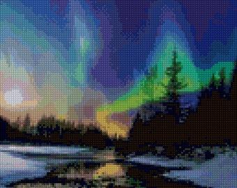 Northern Lights Aurora Borealis Cross Stitch pattern PDF - Instant Download!