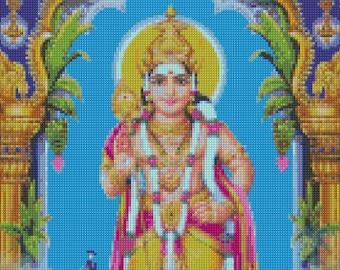Murugan Hindu God Cross Stitch pattern - PDF - Instant Download!