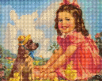 1950s Baby Girl and Friends Cross Stitch pattern PDF - Instant Download!
