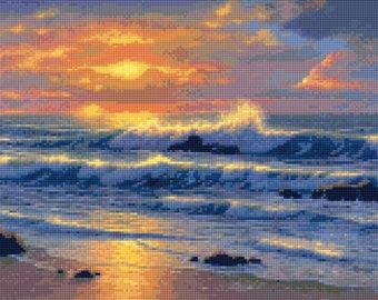 Ocean Beach Sunset No. 3 Cross Stitch pattern PDF - Instant Download!