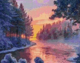 Winter Sunset Cross Stitch pattern PDF - Instant Download!