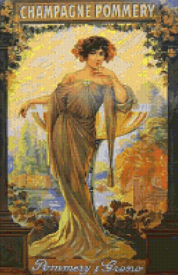Art Nouveau French Champagne Pommery Poster Cross Stitch Pattern Pdf Instant Download