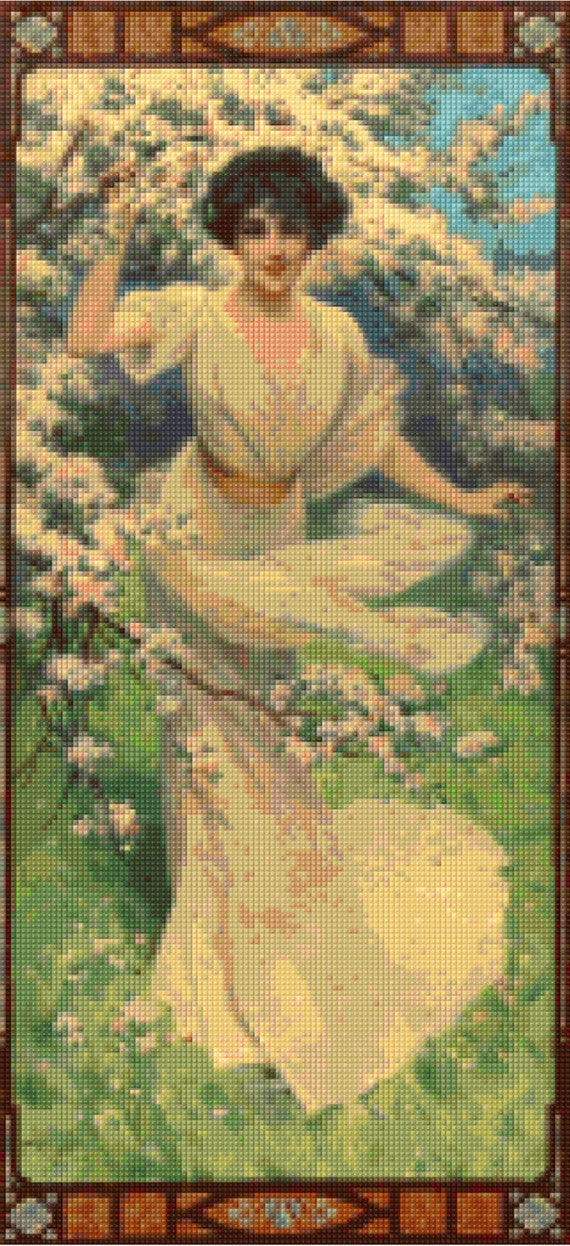 Art Nouveau Victorian Woman Cross Stitch Pattern Spring Blossoms Pdf Instant Download