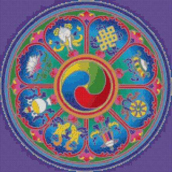 Buddhist Eight Auspicious Symbols Cross Stitch Pattern Pdf Etsy