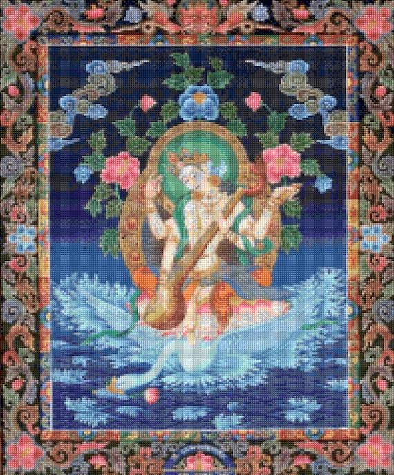 Hindu Goddess Saraswati Thangka Large Cross Stitch pattern - PDF - Instant  Download!