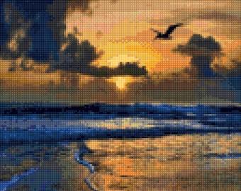 Caribbean Beach Sunset Cross Stitch pattern PDF - Instant Download!