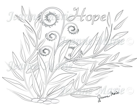 Hope Ferns Fantasy Coloring Page Adult