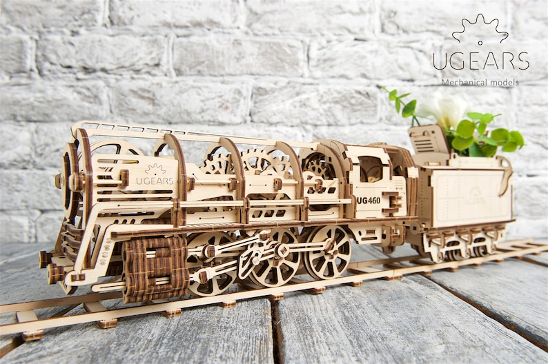 Locomotive 3D Wooden Mechanical Ugears Model, Automata Kit- DIY Craft Set,  Men Desk Decor- Teens and Adults Gift- Kinetic Art