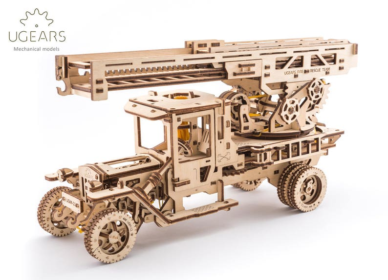 Fire Truck - Mechanical Wooden Model- 3D Wooden Vehicle - Kinetic Art -  Best Firefighter Gift for Him