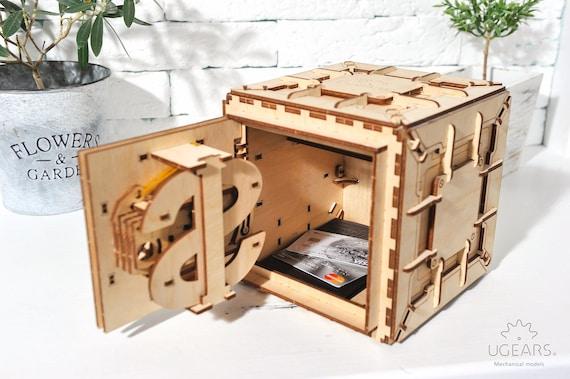 Wooden Trinketmoney Box Laser Cut Diy Plywood Puzzle Kit Wood Mechanical Safe Box Model Kit
