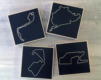Racetrack Tile Coasters, Set of Four   Motorsport Coaster Gift Set   Race Track Coasters   Auto Racing Coasters