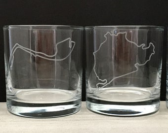 Racetrack Etched Rocks Glasses, Set of Four   Motorsport Glassware Gift Set   Race Track Glass Set   Auto Racing Glasses