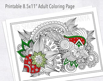 Abstract Floral Design Printable Adult Coloring Page Zentangle Colouring Henna 85 X 11 Holiday Activity Art Therapy