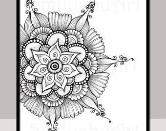 Printable Zentangle Coloring Page For Adults Mindfulness Etsy