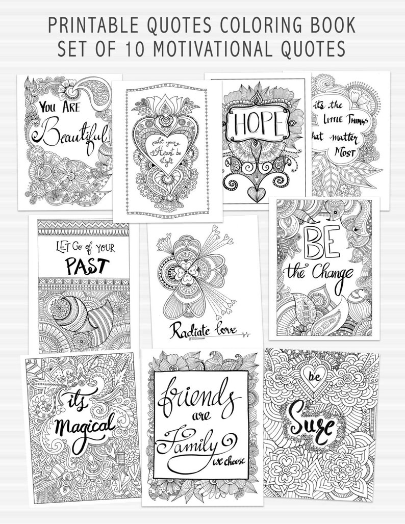 image relating to Printable Quotes to Color known as SALE! Printable Quotation Coloring Guide, Self Assist Grownup Coloring E-book, 10 Motivational estimates toward shade, Card enclosures, Mindfulness Coloring