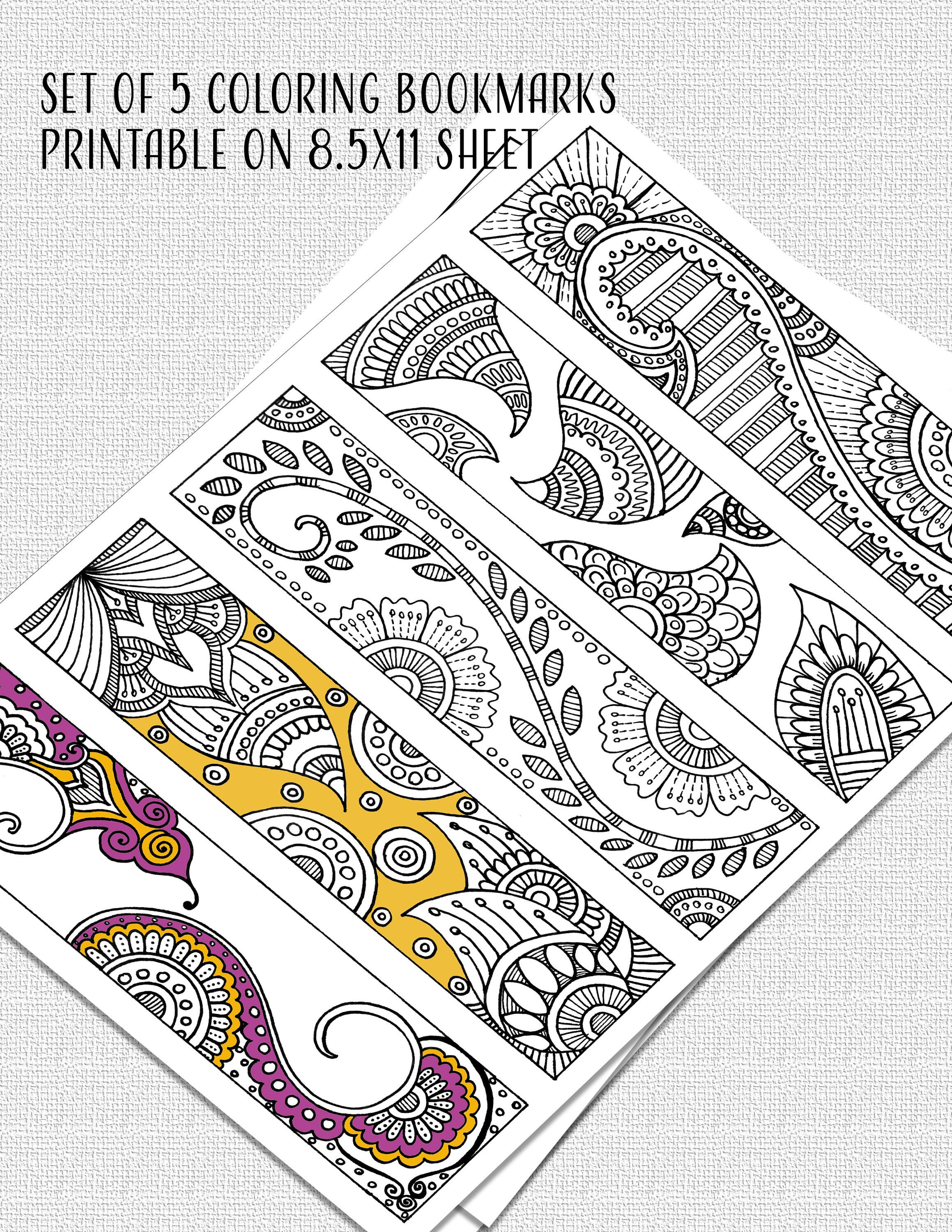 Set of 5 Printable Coloring Bookmarks 8.5x11 inches PDF | Etsy
