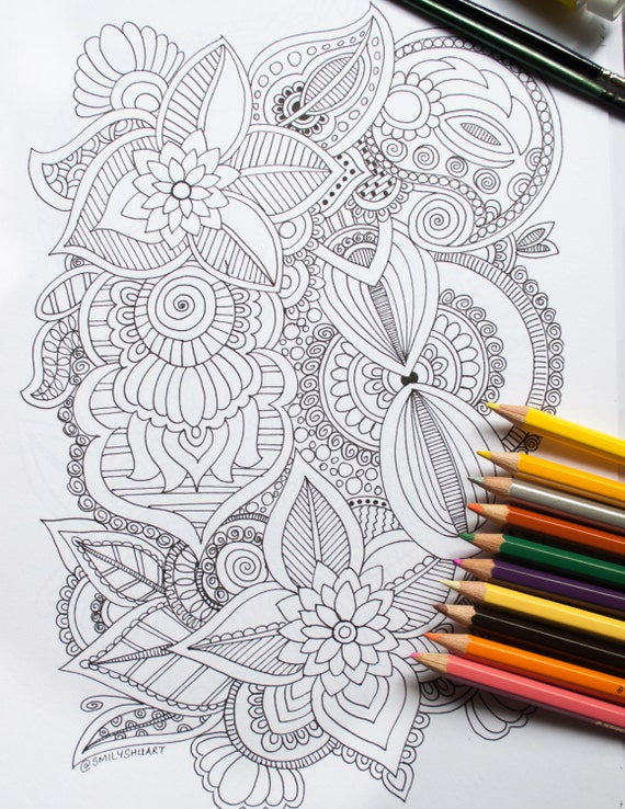 Abstract Floral Design Printable Adult Coloring Page Etsy