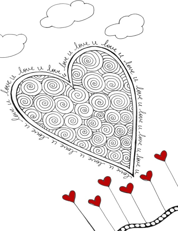 Love U, Printable Heart Coloring Page, DIY Valentine\'s Day Card, Heart  Coloring Sheet, DIY Valentines Day Gift, Framable Hearts Wall Art