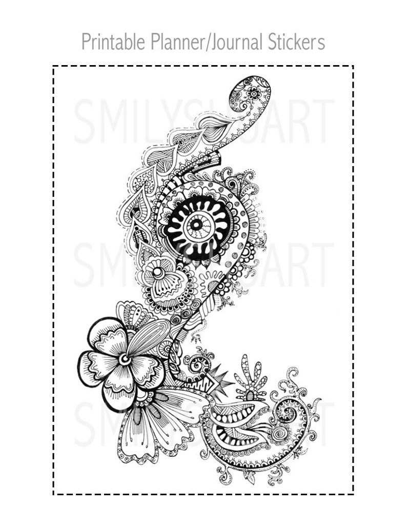 photograph about Printable Henna Designs identified as 5x7 Printable Mandala Stickers, Henna Style and design Coloring Stickers for your Publications or Planners, 5x7 Coloring Card, Grownup Coloring Sheet