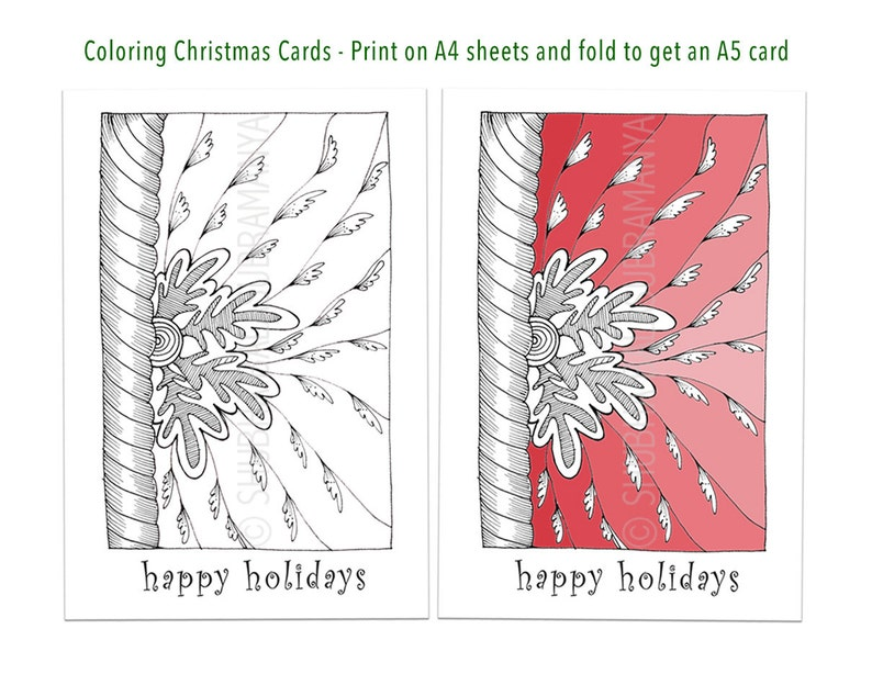 photo about Printable Coloring Christmas Cards identified as Delighted Holiday seasons, Printable Coloring Xmas Card, Do-it-yourself Getaway Card, Seasons Greetings, Vacation Greetings, Fold A4 sheet for A5 card