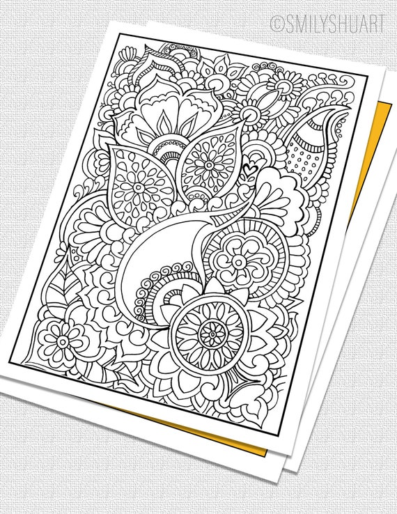 Printable Zentangle Coloring Page for Adults, Mindfulness Coloring, Printable Invitation & Greeting Cards, DIY coloring cards, Art Therapy