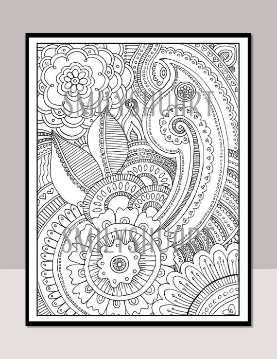 Abstract Floral Design Printable Adult Coloring Page Zentangle Doodle Art Digital Download Calm Relaxing Art Therapy