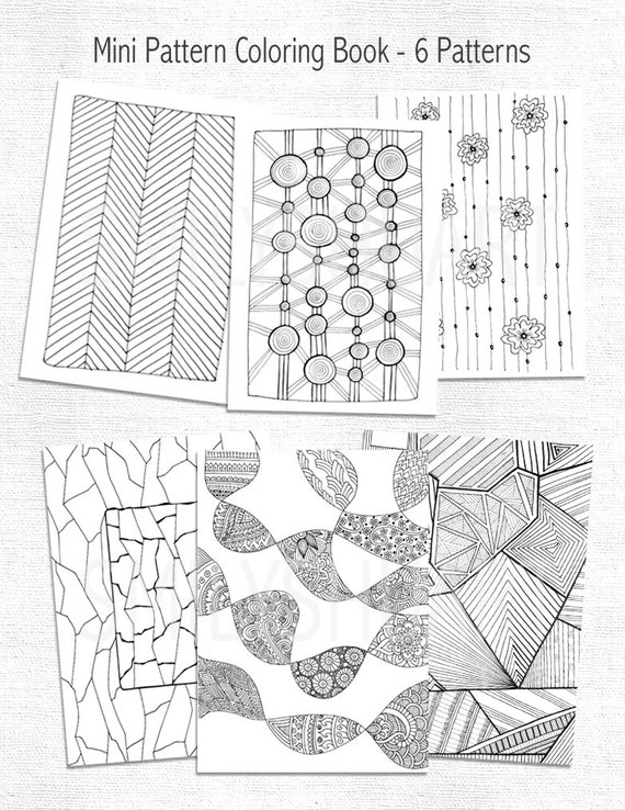 Printable Mini Pattern Coloring Book Set Of 6 Abstract Etsy
