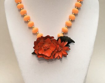 Floral vintage brooch necklace