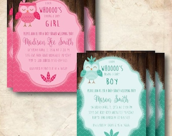 Owl (BOY or GIRL or TWIN) Baby Shower Invitations- Custom, Digital Download & Printable