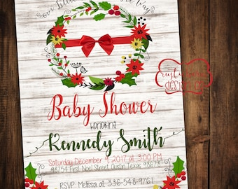Christmas Themed Baby Shower Invitations- 5x7 Custom Invitation- Digital Download/PRINTABLE