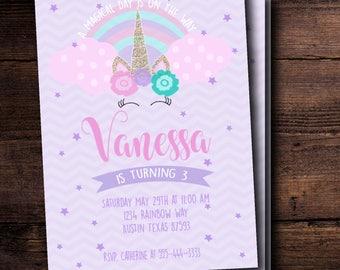 Unicorn Rainbow Themed Birthday Invitation -Custom & Digital Download, Printable 5x7