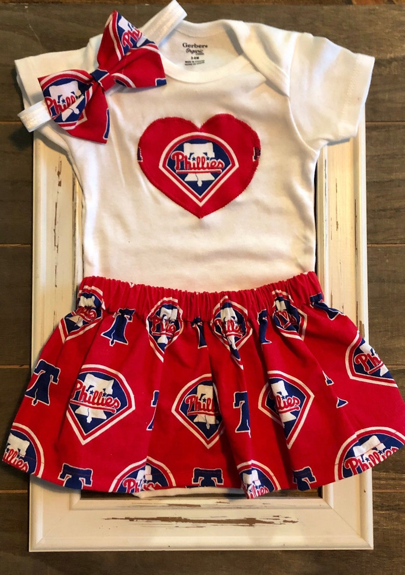 finest selection 1368c 1b5cb Phillies Baby, Phillies Baby Outfit, Philadelphia Phillies Baby,  Philadelphia Phillies Baby skirt and onesie