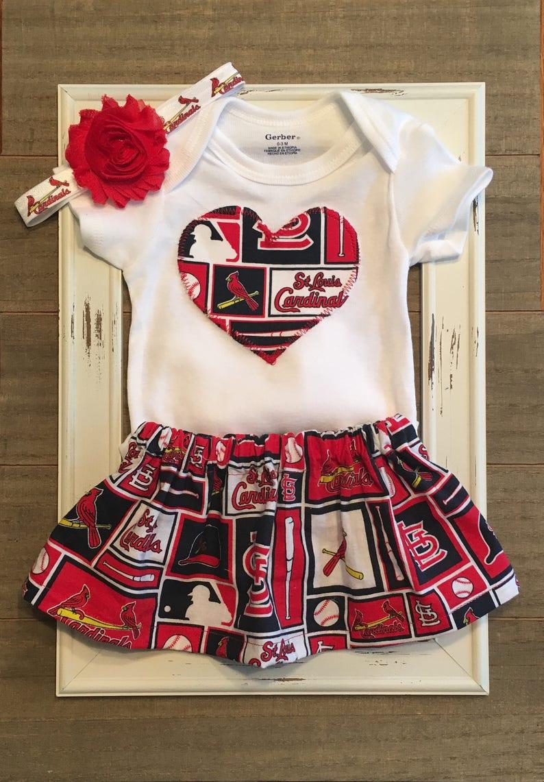 St Louis Cardinals Baby St St Saint Louis Cardinals Onesie and Skirt Louis Cardinals Baby Outfit Louis Cardinals Skirt