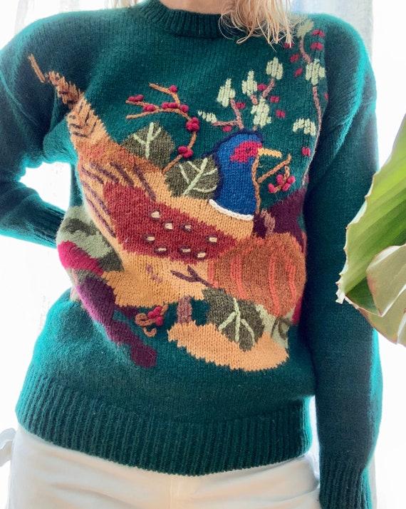 Vintage Susan Bristol Scenic Wild Bird Sweater - image 3