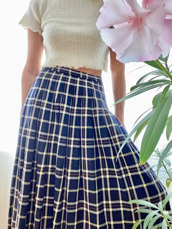 Vintage Pendleton Tartan Blue Pleated Skirt