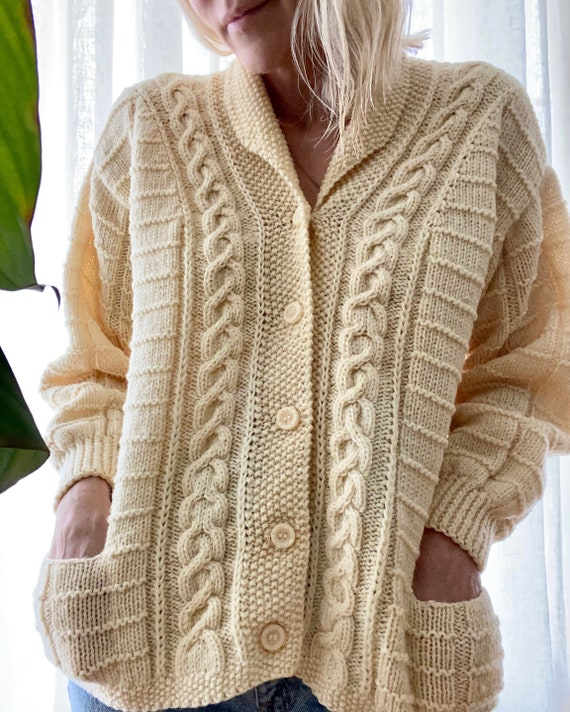 VINTAGE Cable Shawl Collar Cardigan